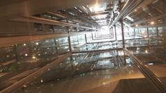 Transparent Elevator Ride Stock Footage