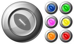 sphere button football - stock illustration