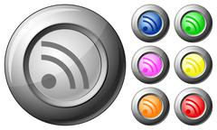 sphere button rss - stock illustration