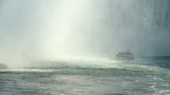 The boat in the middle of the Niagara Falls Stock Footage