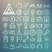 equipment travel and sea icons retina - stock illustration