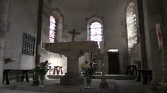 France Bourg-Latic Romanesque church interior cx Stock Footage