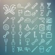 tools and equipment icons set on retina background - stock illustration