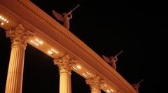 Las Vegas - Caesar's Palace Statues On Columns Stock Footage
