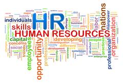 Hr human resources word tags wordcloud Stock Illustration
