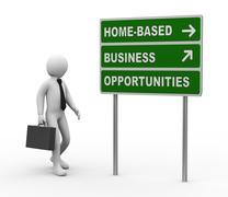 3d businessman home based business opportunities roadsign Stock Illustration