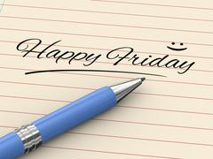 3d pen writing happy friday on paper - stock illustration