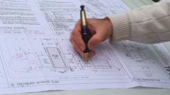 Architect on Blueprint HD Stock Footage