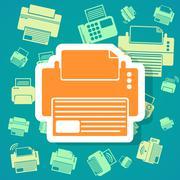 Printer icons background Stock Illustration