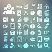 Business icons and finance icons set on retina background Stock Illustration