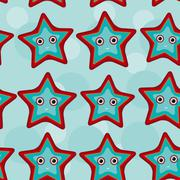 Seamless pattern with funny cute starfish animal on a blue backg Stock Illustration