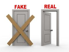 3d fake and real doors Stock Illustration