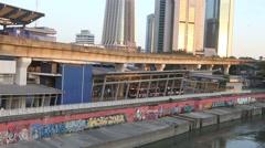MRT commuter train approaching at Pasar Seni train station Stock Footage