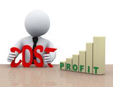 3d businessman cost reduction concept - stock illustration