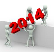 3d people working together to place year 2014 Stock Illustration
