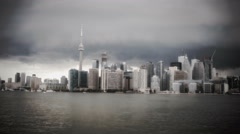Toronto Skyline from a ferry in stormy weather Stock Footage