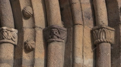 Stock Video Footage of France Bourg-Latic Romanesque church Saint Fargheon zooms in