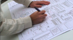 Architect on Blueprint HD Stock Footage