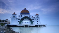 Cloudy morning at Malacca Straits Mosque, Malacca Town, Malaysia Stock Footage