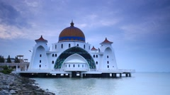 Malacca Straits Mosque Footage during Sunrise - stock footage