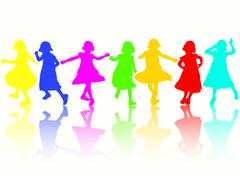 Dancing girls silhouettes Stock Illustration