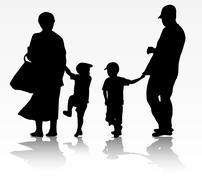 Family walking outdoors Stock Illustration