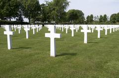 Crosses on military graves. Stock Photos