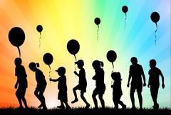 children with balloons - stock illustration