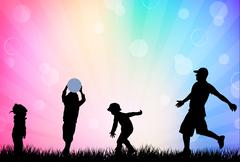 father with children - stock illustration