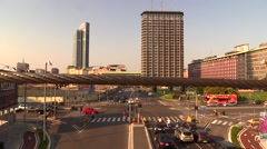 Time lapse junction rush hour Milan (Unicredit, Pirelli, Region) Stock Footage