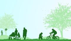 Stock Illustration of family outdoors summer