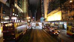 HONG KONG ISLAND, CIRCA 2014: City tram moving through the streets. POV Stock Footage