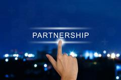 Hand pushing partnership button on touch screen Stock Illustration