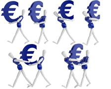 euro currency white man - stock illustration