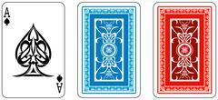 ace and matching back from deck of playing cards - stock illustration