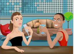 Two beautiful woman in a bar Piirros