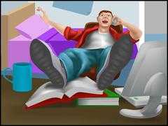 Lazy guy Stock Illustration