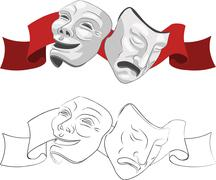 Theatre comedy and tragedy masks Piirros