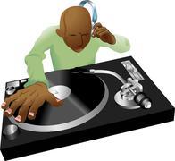 Deejay mixing illustration Stock Illustration