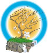 Japanese tree illustration Stock Illustration