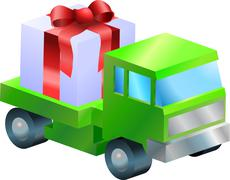 lorry truck  gift illustration - stock illustration