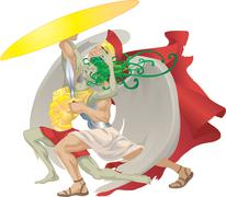 perseus and medusa illustration - stock illustration