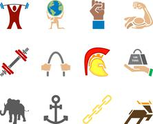 Stock Illustration of conceptual icon set relating to strength