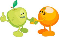 apple and orange happily shaking hands - stock illustration