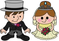 bride and groom characters - stock illustration