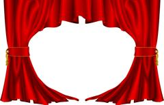 Red theatre style curtains Piirros