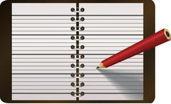 Pencil writing in diary vector illustration Stock Illustration