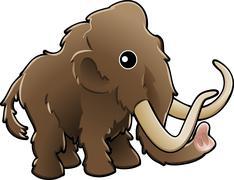 cute woolly mammoth illustration - stock illustration