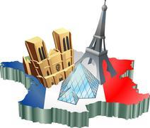 french tourism - stock illustration