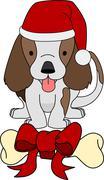 illustration of gift bone and dog - stock illustration